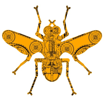 insect consisting of various technical drawing Vector