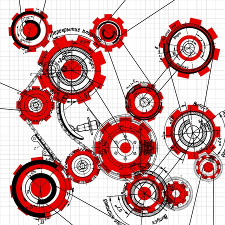 car factory: blueprint of gears and cogwheels on white