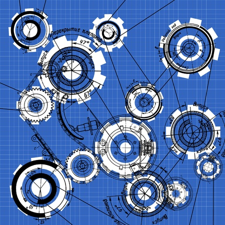 car part: blueprint of gears and cogwheels on blue Illustration