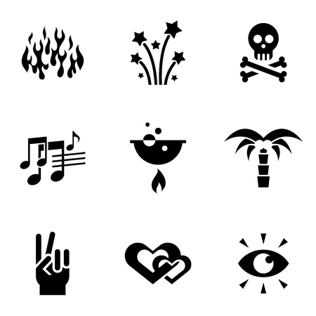 ring finger: various black icons on white  Illustration