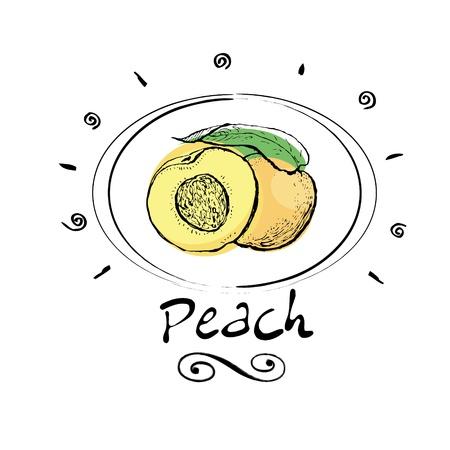 food package:   peach in vignette Illustration