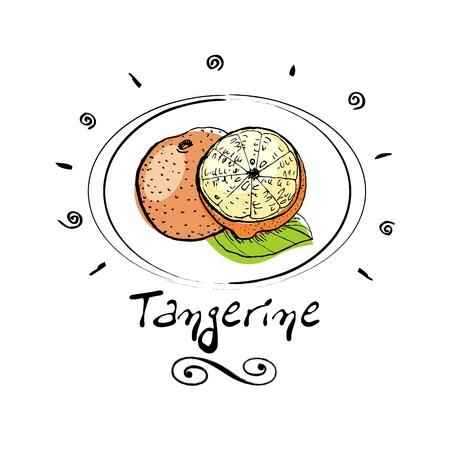 tangerine tree:   tangerine in vignette  Illustration