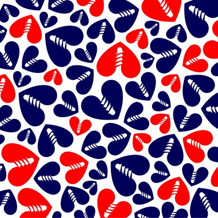 pattern of red and blue hearts on white Vector