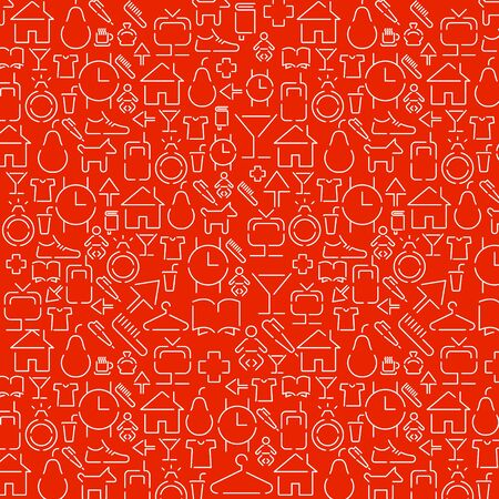 wallpaper of small white various icons on red Stock Vector - 11475510