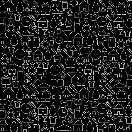 wallpaper of small white various icons on black Stock Vector - 11475508