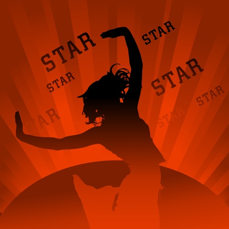 silhouette of dancing figure on shining background Vector