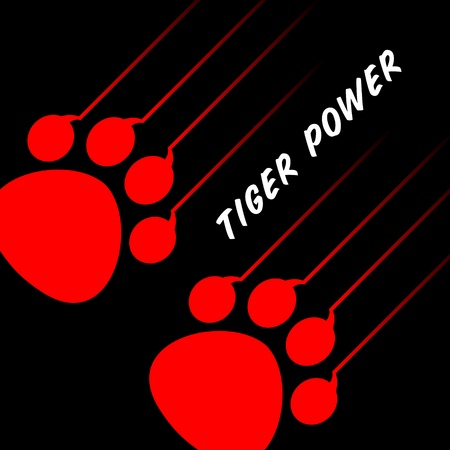 claws: red tiger paw on black Illustration