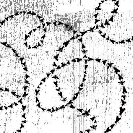 huellas de animales: camino de los insectos en el fondo del grunge