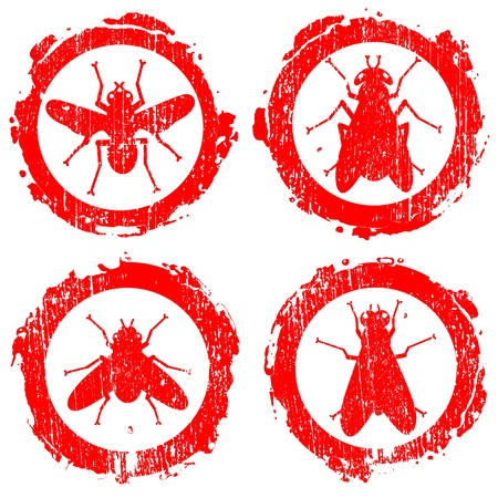 grunge red signs with icons of fly Stock Vector - 11919619