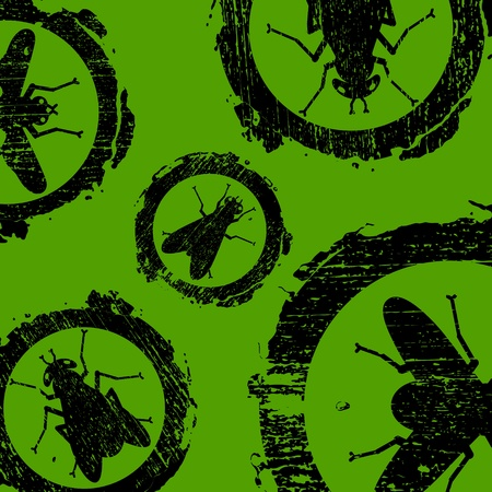 grunge and dirty signs with icons of fly Stock Vector - 11919622