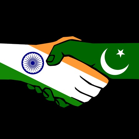 pakistan flag: handshake of two states on black