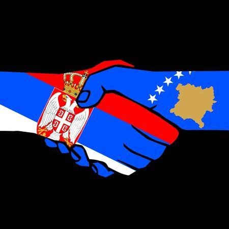 peace treaty: handshake of two states on black