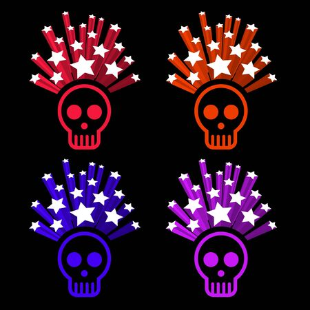 icons of human skull with stars on top Stock Vector - 11919625