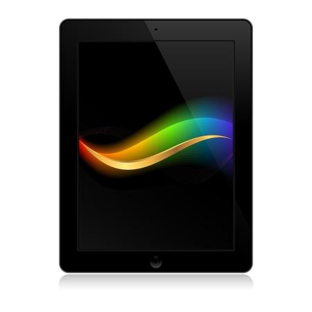 plantilla de la tableta de color negro con ondas