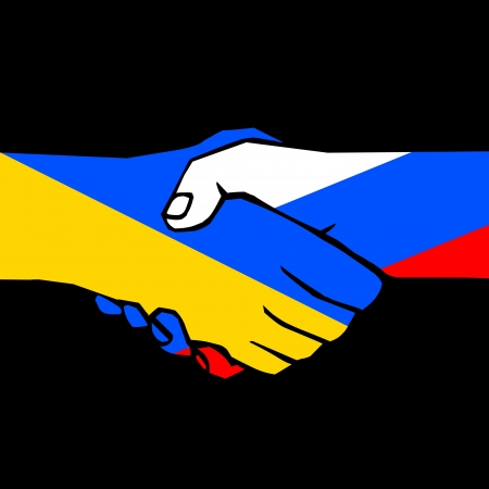 treaty: handshake of two states on black