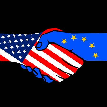 handclasp: handshake of two states on black