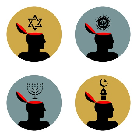 judaism: various icons of open human head
