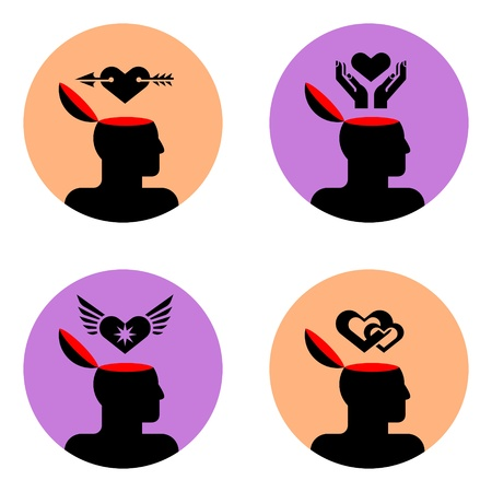 various icons of open human head  Vector