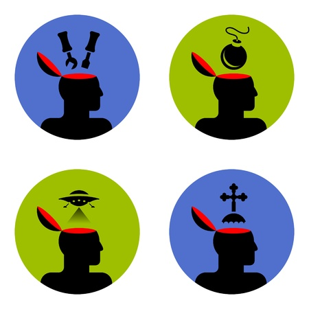 various icons of open human head  Stock Vector - 12048446