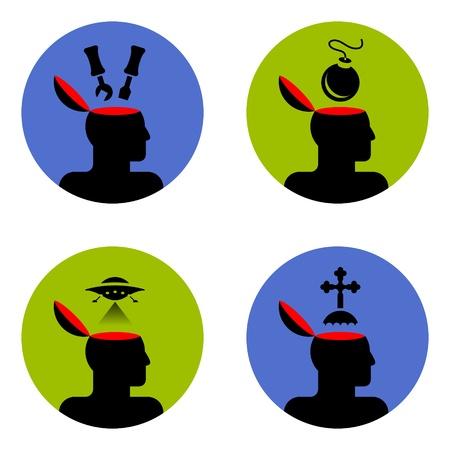 vaus icons of open human head  Stock Vector - 12048446