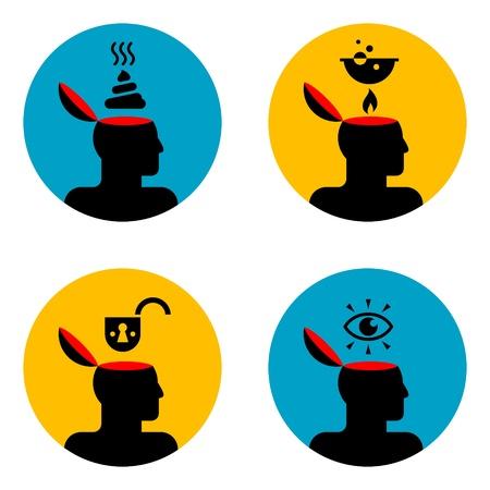 excrement: varie icone di open testa umana