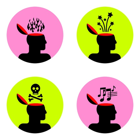 fire skull: various icons of open human head