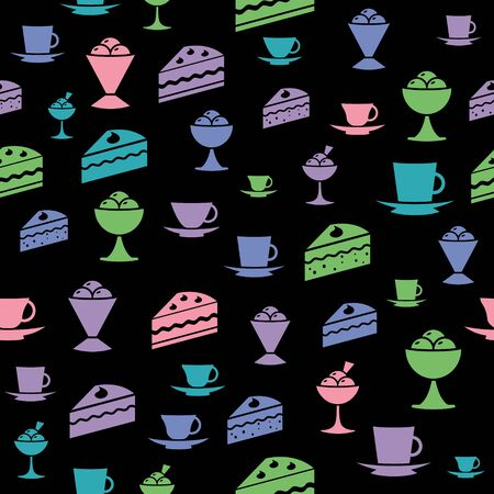 icons of ice-cream, cake, mug on wallpaper  Vector