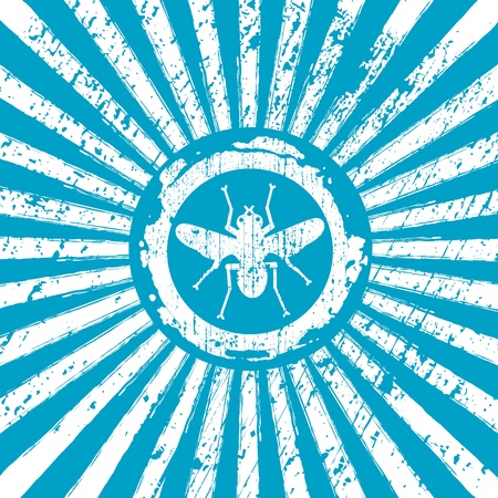 suck blood: icon of fly on Rising Sun rays