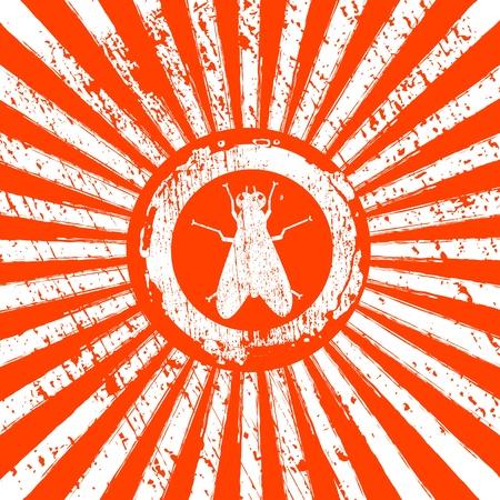 rising sun: icono de la mosca en los rayos Sol Naciente Vectores