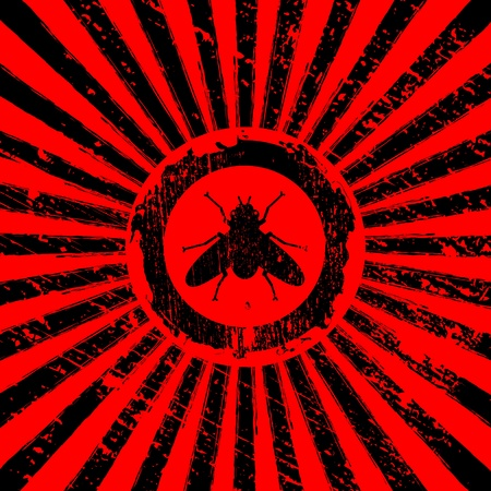 blood transfer: icon of fly on Rising Sun rays