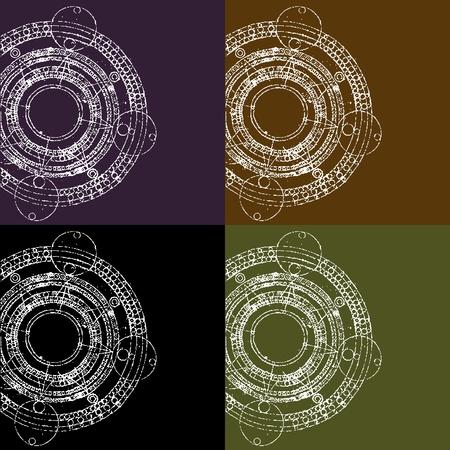 aztec calendar: illustrations of grunge round maya calendars