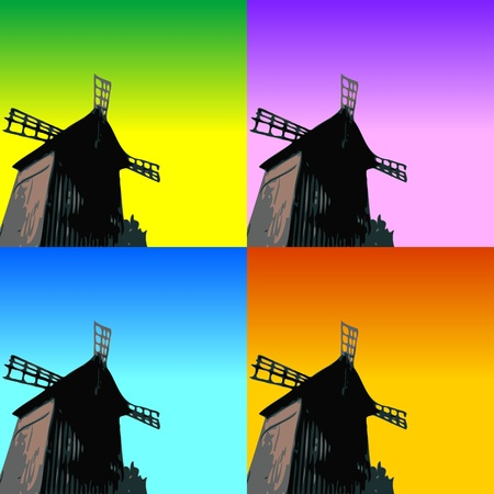 old wooden door: windmill silhouette on colorful background