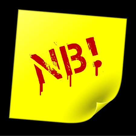 nota: yellow sticker with red nota bene