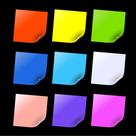 nota: colorful sticker on black background Illustration