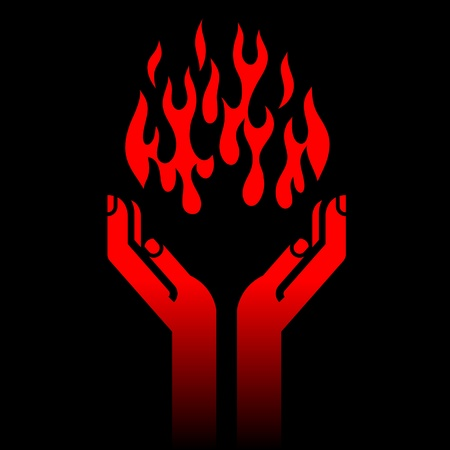 prometheus' hands with fire on black Vector