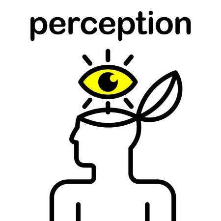 percepción: ilustración de los ojos en la cabeza humana estilizada Vectores