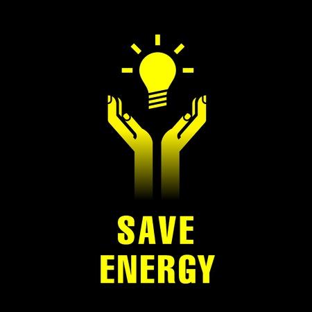 ahorro energia: icono de las manos con bombilla eléctrica