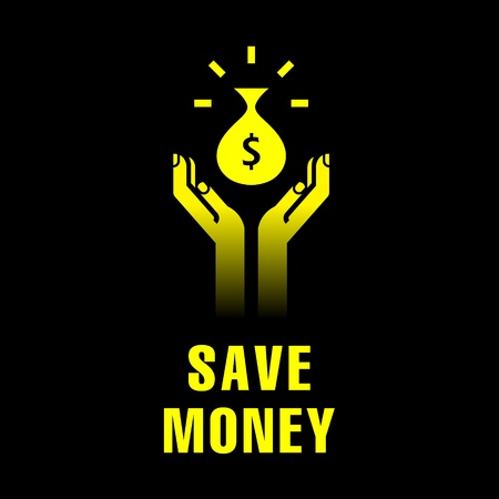 icon of hands with bag of money Vector