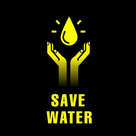 ahorrar agua: icono de las manos con gota de agua