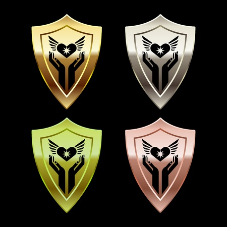 shiny shield: color glossy shields with human arms on black Illustration
