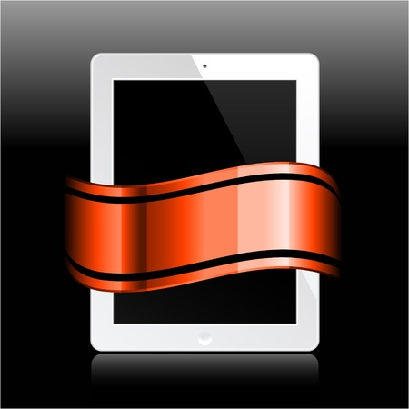 tablet with ribbon on black Stock Vector - 12048463