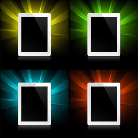 tablets on colorful shining backgrounds Vector