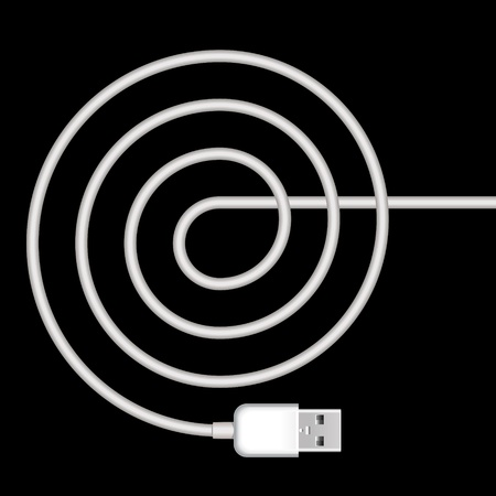 usb cable: usb plug with spiral white cord on black background
