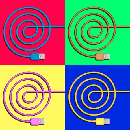 usb plugs with spiral color cords on various background