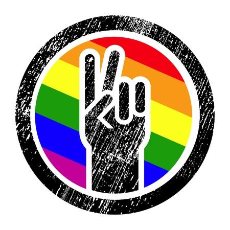 bandera gay: signo de la victoria del grunge en blanco