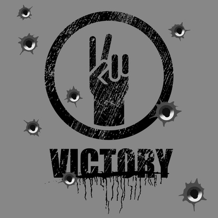 victory sign on background with bullet holes Vector