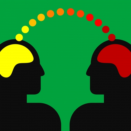two men talking: illustration of two human heads with brains Illustration
