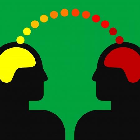 dos personas hablando: ilustración de dos cabezas humanas con el cerebro