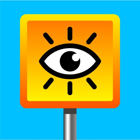 surveillance symbol: video surveillance camera sign Illustration