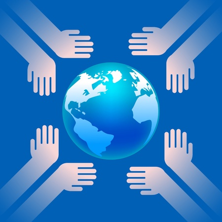 earth in hands on blue background Vector